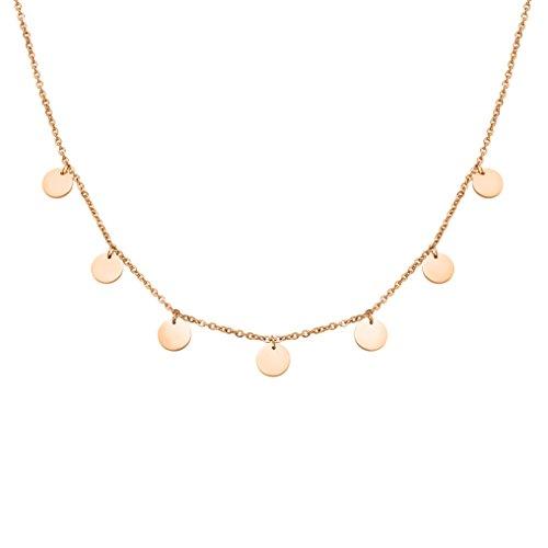 Schöne Halskette aus Edelstahl mit Plättchen in Farbe Rosegold für Damen mit verstellbarer Länge | wundervoller Rosé Schmuck | Geschenkverpackung