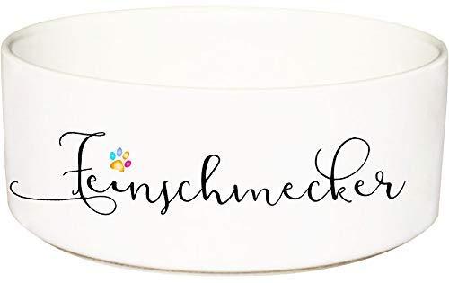 Cadouri Keramik Hundenapf Futternapf Katzennapf mit Schriftzug FEINSCHMECKER - 650 ml