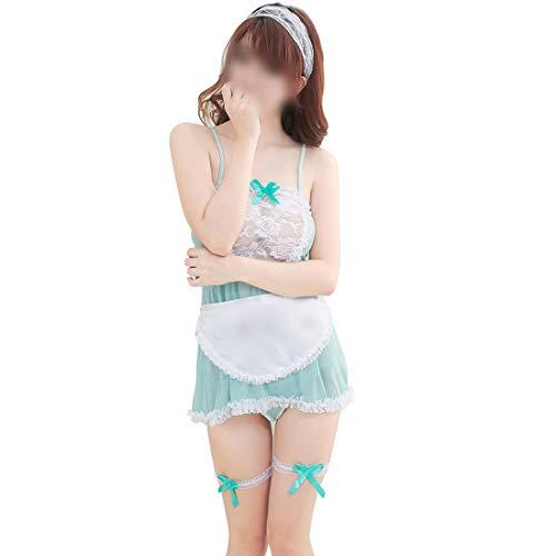 Hemotrade Minigonna Sexy della Domestica del Vestito, Costumi Uniformi di Tentazione della Signora Costolette Sexy del Pizzo di Lolita (Color : Green)