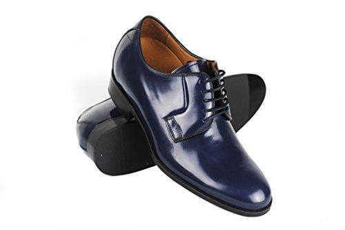 Zerimar Zapatos con Alzas Interiores DE 7 cm Calzado de Piel Estilo Elegante Zapatos Boda Hombre Color Azul Marino Talla 42
