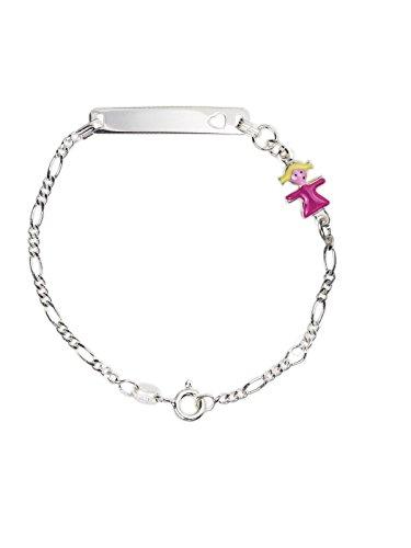 AKA Schmuck - Baby ID Armband 925 Sterling Silber mit Ausgestanztem HerzArmband und Mädchen Anhänger Rosa Emaille, Geschenk für Kinder und Mädchen