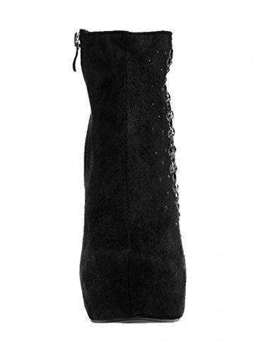 CASPAR SBO071 Élégantes bottines en imitation daim 2 hauteurs de talon Talon 13 cm