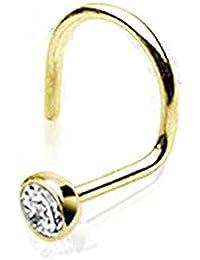 Paula & Fritz® - Piercing para la nariz, ganchos de oro auténtico de 14quilates con circonita engarzada