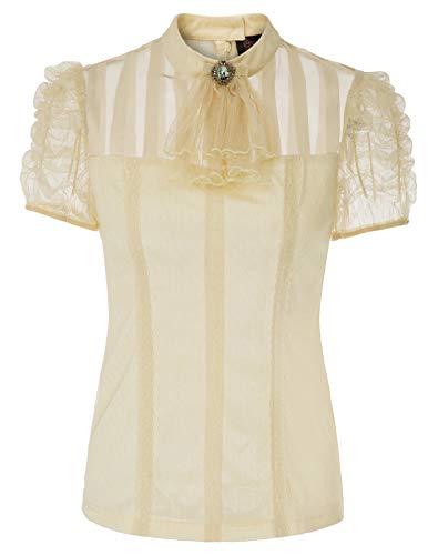 SCARLET DARKNESS Frauen Vintage Steampunk Gothic Hauchhülse Lace-Up Zurück Bluse Beige Größe S