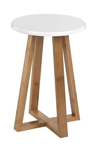 Premier Housewares Bambus-Hocker Viborg, rund, Bambus, weiß, 30x30x43 cm