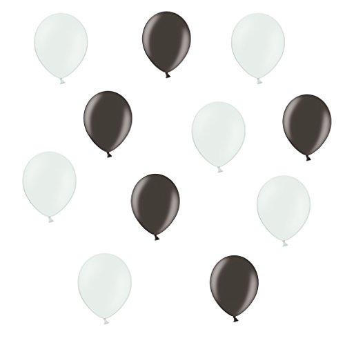 50 x Premium Luftballons je 25 Schwarz und Weiß - ca. Ø 28cm - 50 Stück - EU WARE nach EN 71 - Ballons als Deko, Party, Silvester Happy New Year Jahreswechsel - für Helium geeignet - twist4®