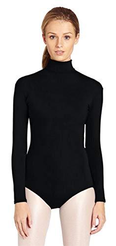 Insun Damen Ballettanzug Langarm Body Gymnastikanzug Ballett Trikot Einteiler Bodysuit mit Rollkragen Schwarz 3XL (Mit Schwarz-trikot Halloween-kostüme,)