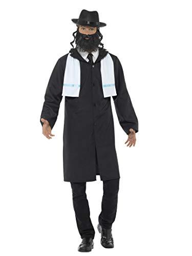 Smiffys Herren Rabbiner Kostüm, Jacke, Schal, Hut und Bart, Größe: L, - Rabbi Hut Kostüm