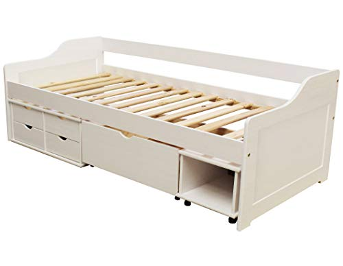 KMH®, Kojenbett/Kinderbett/Jugendbett mit Bettkasten, Schubladen und Nachttisch (200 x 90 cm/incl. Lattenrost/weiß) (#201105)