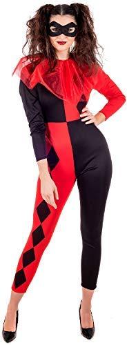 Fancy Me Damen Gedreht Schwarz Rot Harlekin Hofnarr TV Buch Film Comics Halloween Kostüm Kleid Outfit - Rot/schwarz, UK 16-18