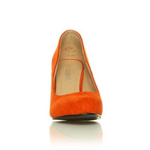 Scarpe col Tacco a Spillo Ecopelle Scamosciata Arancio Mod. PEARL da Donna Camoscio Arancio