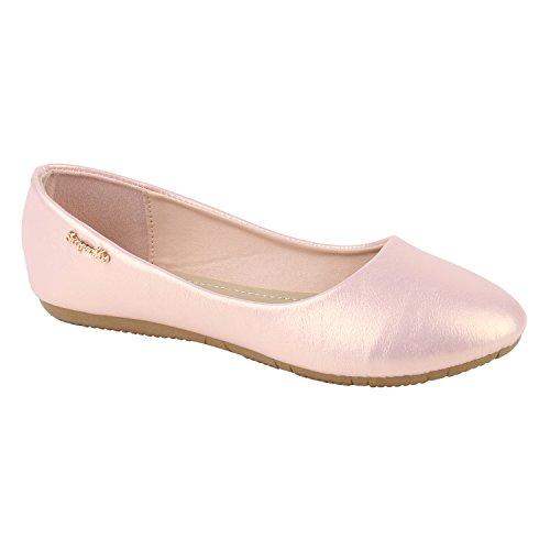 Stiefelparadies Klassische Damen Ballerinas Flats Leder-Optik Lack Glitzer Schleifen Ballerina Übergrößen Schuhe 141415 Rosa 40 | Flandell® (Rosa Ballerinas)