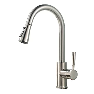 GLANZHAUS Modern Commercial Brushed Nickel Stainless Steel Single Handle Single Hole Pull Down Sprayer Kitchen Tap,Swivel Sprayer Mixer Tap