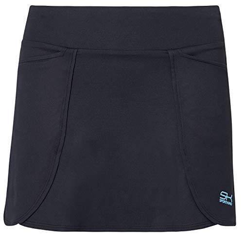 Sportkind Mädchen & Damen Tennis/Hockey/Golf Rock in Wickeloptik mit Taschen & Innenhose, schwarz, Gr. 122
