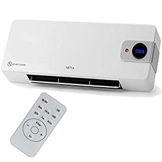 NETTA 2000W Electric Wall Mounted Heater with PTC Element, Remote Control and Timer