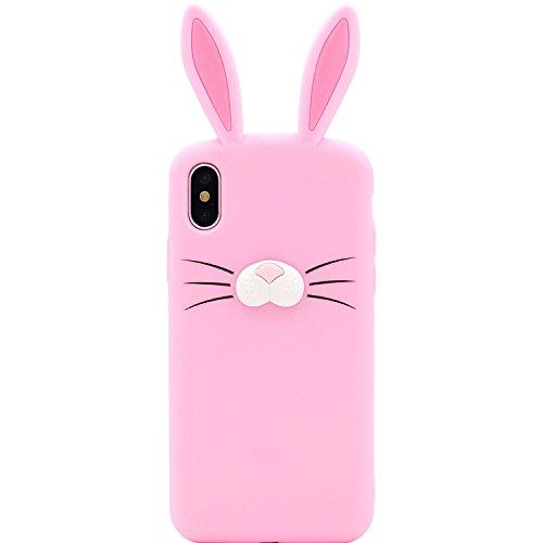 iPhone X Fall, MC Fashion Cute 3D Kaninchen Bunny Schnurrbarthaare Ohren Tier Fall, Weichen und Silikon Cover Slim für Apple iPhone X (2017Release), Rose (Fall Bunny Ohren)