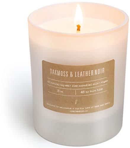 Craft & Kin Duftkerze, Soja-Kerzen, luxuriöse dekorative Kerzen, Lange Brenndauer, Duftkerze im Glas, Weiß, Leder, Holz, Lavendel, Eichenmoos Oakmoss Leather Noir -