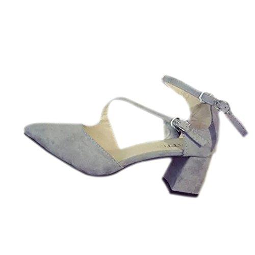 Modische bequeme spitz zulaufende High Heels-Sandalen, schlichte Ausführung, Velours, Leder, Knöchelriemen, passend für viele Größen Grau