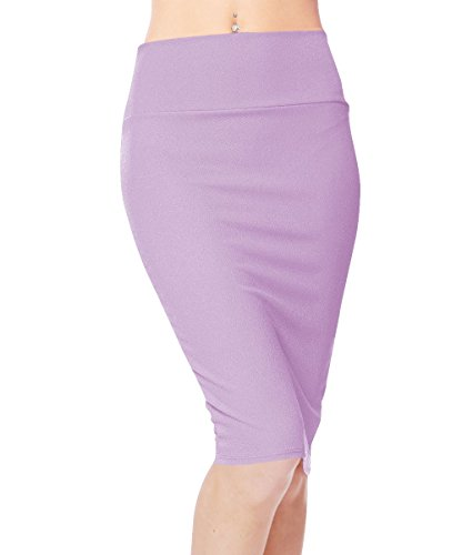 Urbancoco Damen Bleistift Rock Kurz Hohe taille Stretch Business Rock (L, Lavander)