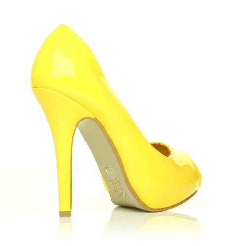 TIA scarpe da donna modello stiletto piattaforma e punta aperta colore giallo pelle PU lucido giallo lucido