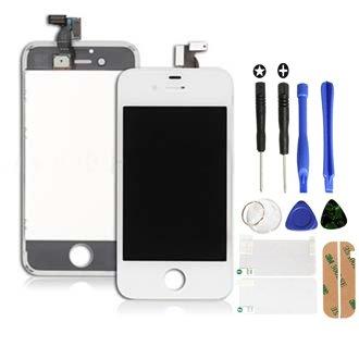 SKILIWAH® Para iPhone 4 LCD Pantalla Táctil (Cristal Digitalizador, LCD y Marco Frontal),Color Blanco