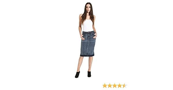 MIA Midwash /& Indigo Raw Hem Midi Jean Skirt Denim Pencil Skirt