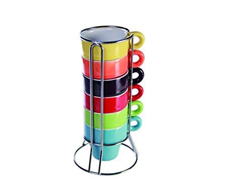 SalesFever - Juego de tazas de café y soporte (6 unidades), varios co