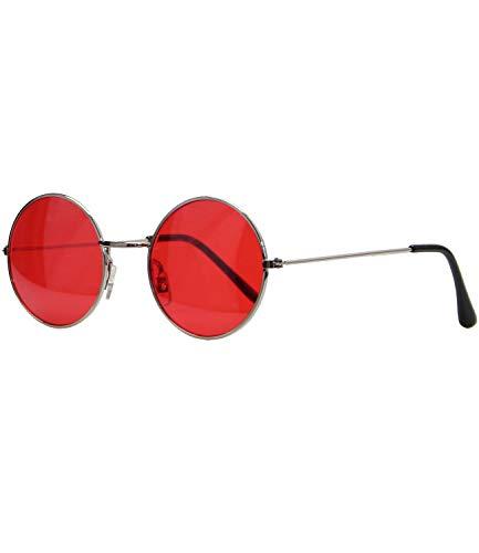 Caripe Lennon Retro Vintage Sonnenbrille Metall Damen Herren rund Nickelbrille (5035 - Silber - rot getönt)