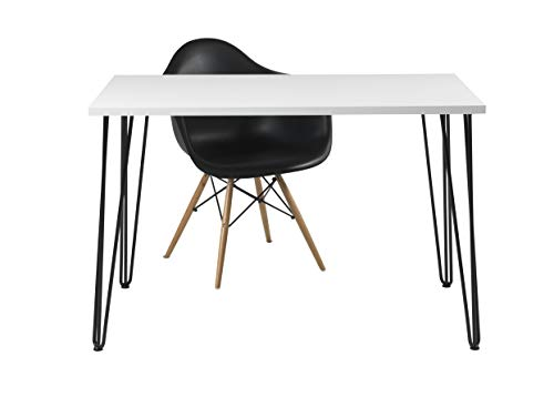 Euro Tische Esszimmertisch weiß Hochglanz Industrial Design Metallgestell - sehr Kratzfest - perfekt geeignet als Esstisch/Wohnzimmertisch - Made in Germany (120x70x74 cm) - Lack Schwarz Stuhl