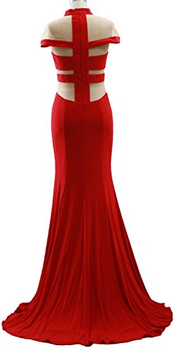 MACloth Mermaid High Neck Jersey Prom Gown Cap Sleeves Evening Formal Dress Royal Blue