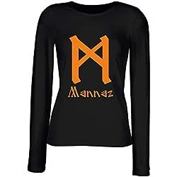 Camiseta para Mujer con Mannaz de Manga Larga Negra