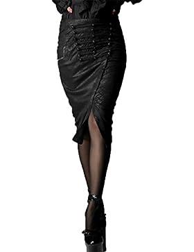 ?Summer Women Gothic Uniforme Oscuro Uniforme Style Pack Falda Punk Hip Envuelto Falda Negro Hasta la rodilla...