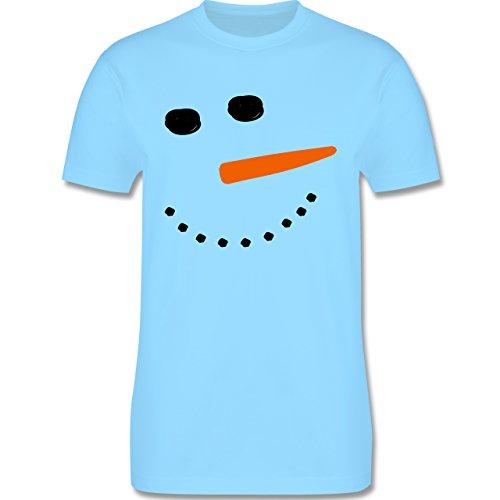 Après Ski - Schneemann Gesicht Snowman - Herren Premium T-Shirt Hellblau
