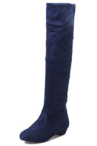 HUA&X Donna tacco basso piatto ad alta sopra il ginocchio lunghi stivali scarpe Blue