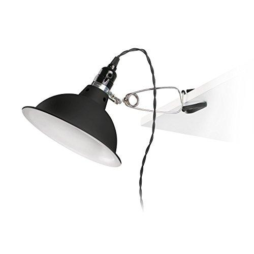 Lámpara de estudio negra con pinza. La fuente de iluminación es una bombilla E27 40W no incluida.
