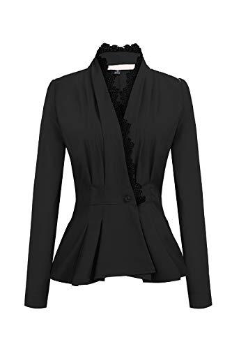 YACUN Damen Blazer Langarm Knopf Jacke Spitzen Pflaster Outwear schwarz S