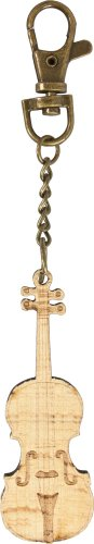 Wooden violin keyring key ring with bronze keychain