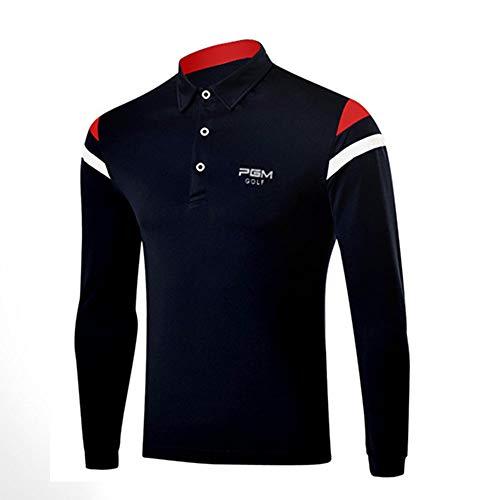 Kostüm Ball Golf - YUIT-G Herren Langarm T-Shirt, Verdicken Golf Kostüm Herrenbekleidung Herbst Herren Sport Ball Anzug Für Golf,Blau,M