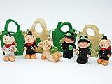 1 Glücksbringer von 6 verschiene Figuren ca. 7cm mit Filztasche Glücksschwein Schornsteinfeger