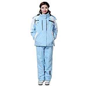 Oplon Damen Skianzug Winter Ski Jacke Hose Skijacke mit Kapuze Wasserdicht Winddicht Skihose