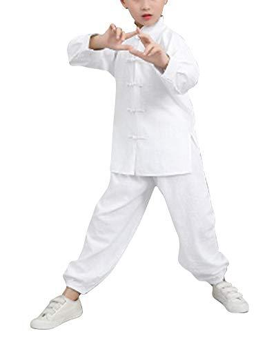 Liangzhu Junge Mädchen Kampfsport Tai Chi Anzug Atmungsaktiv Garn Kung Fu Uniformen Stehkragen Schnalle Unisex Weiß 180