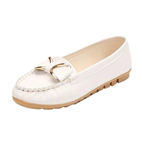 Femmes Mocassins, QinMM Mode Printemps Eté En Cuir Souple chaussures bateau, Casual Métal Noeud papillon confort Sans glissement Flat Blanc