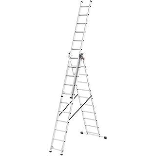 Hailo L680, 3-teilige Alu-Kombileiter, 3x11 Sprossen, stabiler Querbalken, belastbar bis 150 kg, made in Germany, 1033-707