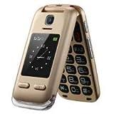 EG520 desbloqueado GSM Clamshell móvil teléfono, botón SOS, pantalla dual con botones grandes y texto predictivo, radio/cámara /linterna / base de carga, tercera edad, oro