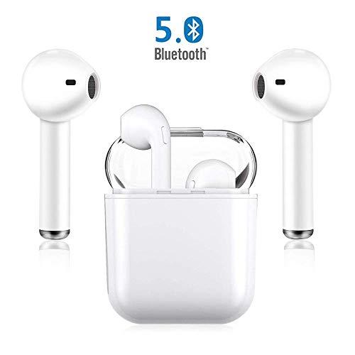 Bluetooth Kopfhörer, Kabellose Ohrhörer In-Ear-Sport-Stereo Wireless Headphones für iPhone X/MAX/XR/X/8/7/6/6s Plus und Samsung Galaxy S7 S8 S9 Plus und Android-Smartphones Huawei XIAOMI-Weiß