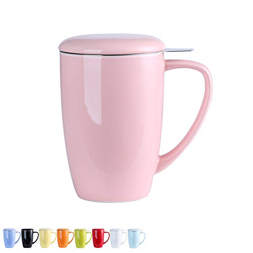 LOVECASA Tea Infuser Mug [450ml], Large Tea Mug with Lid and Stainless Steel Infuser - Tea-for-One Perfect Set for Office and Home Use, Pink