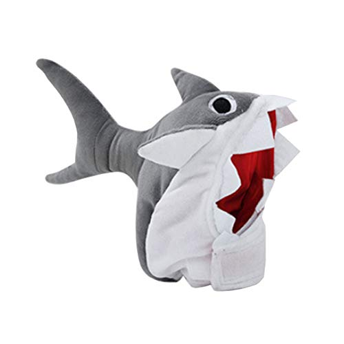 JHHXW PET Shark Hat Super Cute Transforming Head Cover Weihnachts-Katzenpuppy Headwear 3D Dress ()