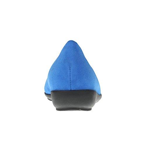 tessamino Damen Ballerina aus Veloursleder, edel, Weite H, für Einlagen Blau