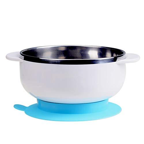 Love lamp Vaisselle d'enfant Bol Bébé Bol en Acier Inoxydable Bol Pratique Bébé Ventouse Bol Bol De Nourriture Complémentaire (Color : White)