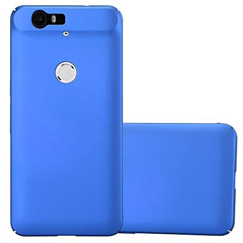Cadorabo Hülle für Huawei Nexus 6P - Hülle in Metall BLAU – Hardcase Handyhülle im Matt Metal Design - Schutzhülle Bumper Back Case Cover